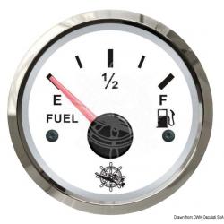 Indicatore livellocarburante quadrante bianco, lunetta lucida segnale 240-33 12/24volt