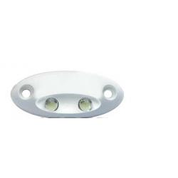 Luce di Cortesia 2 LED bianchi indirizzati in basso.Plastica bianca, mis.44x19mm