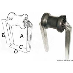 Rullo centrale fisso piccolo, doppio tubo 30x30