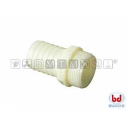 "raccordo portagomma nylon bianco 1"" maschio per tubo 25mm"