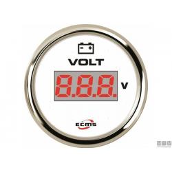 voltometro digitale 12/24V quadrante bianco, lunetta inox con finitura cromata scala 8/32V
