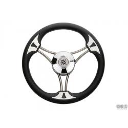 volante TARGA/STEEL 3 razze inox 350mm impugnatura in poliuretano nero