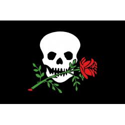 bandiera pirata con rosa 20x30 tessuto