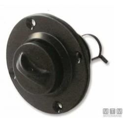 boccola scarico tonda c/tappo a vite nero d24.7mm