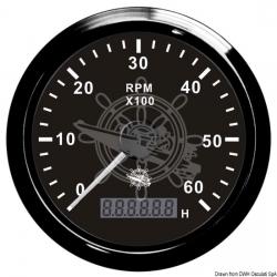 contagiri con contaore universale per motori diesel 0/4000rpm 12/24v