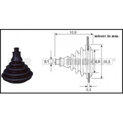 Cuffia passacavo nera ad incastro per tubazioni carburante, cavi telecomando ed elettrici.